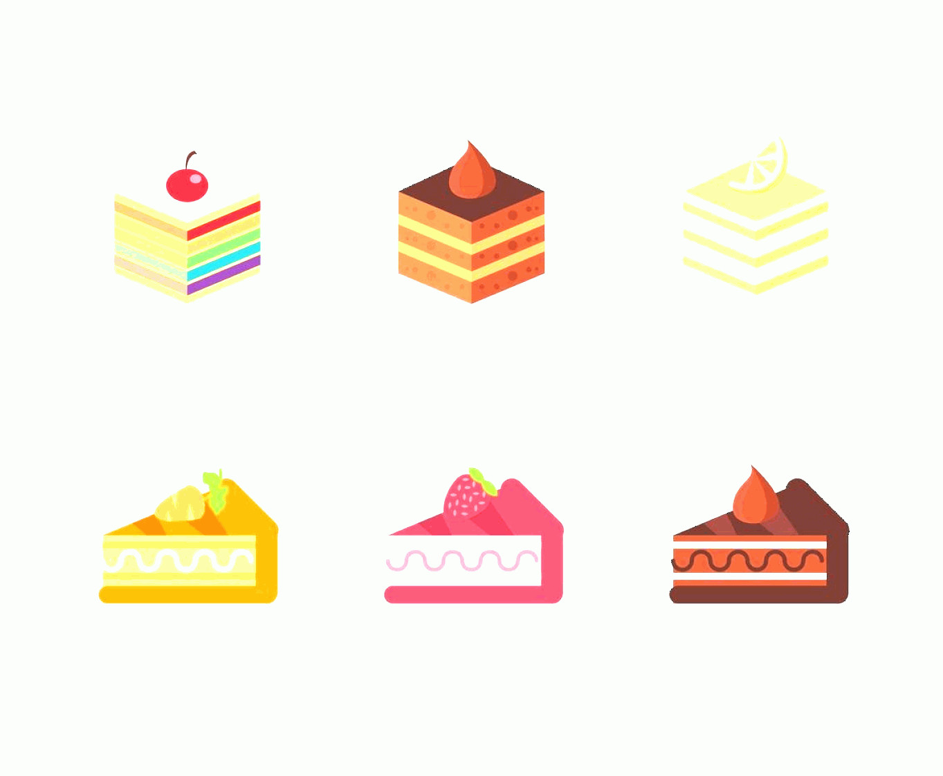 Vector Abstract Art Cake: Layer Cake Pack Flat Illustration Vector
