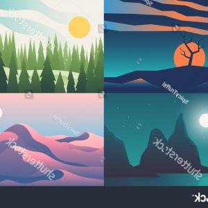 Vector Landscape Illustrations: Landscape Backgrounds Set Flat Night Sunset
