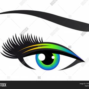 Eye Lashes Vector Logo: Large Eye With Eye Lashes Vector