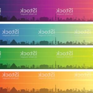 Las Vegas Sphinx Skyline Vector: Las Vegas Multiple Color Gradient Skyline Banner Gm