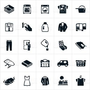 Dry Cleaning Vector: Set Of Black Icons Dry Cleaning And Laundry Service Gm