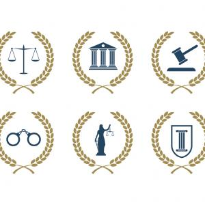 Lawyer Icon Vector: Lawyer Logo Vector With Wreath Svg Ai File