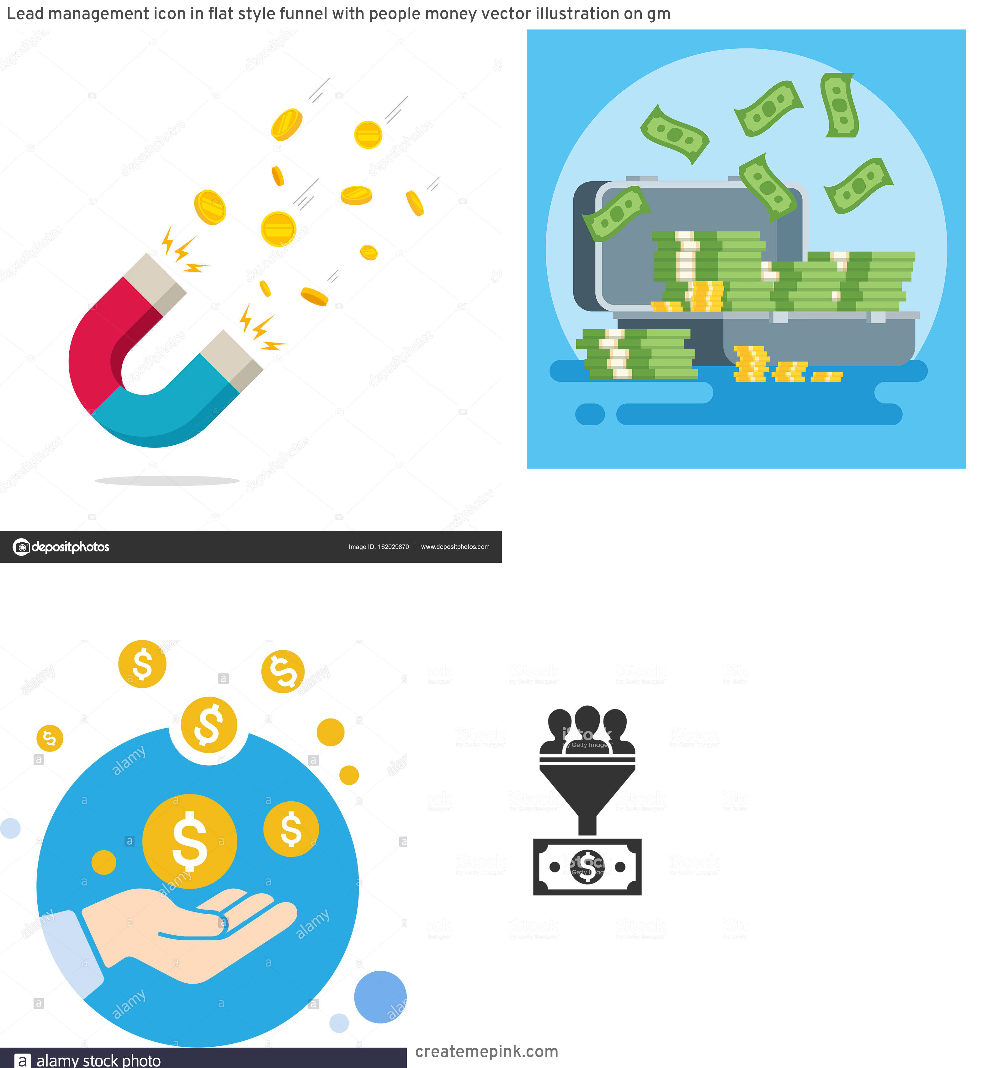 Money Vector Illustration: Lead Management Icon In Flat Style Funnel With People Money Vector Illustration On Gm