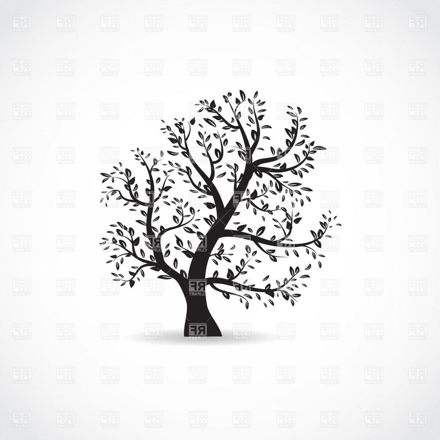 Tree Silhouette Vector Clip Art: Leaf Bearing Tree Black Silhouette Vector Clipart