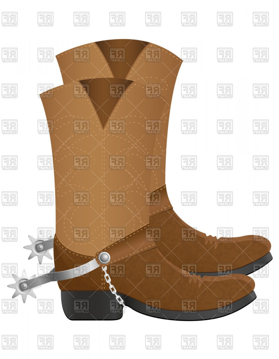 Spurs Clip Art Vector: Leather Cowboy Boots With Spurs Isolated On White Background Vector Clipart