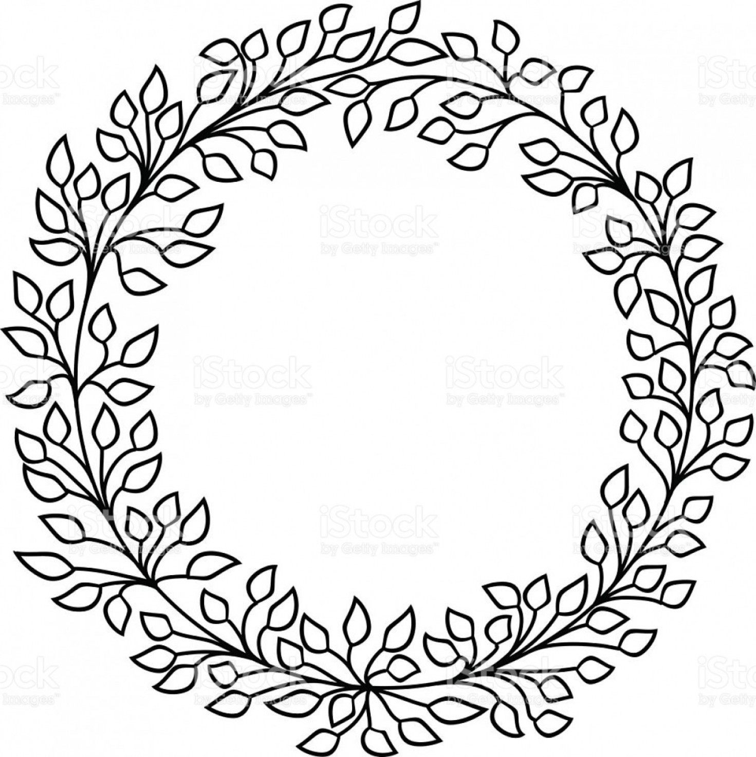 Half Leaf Wreath Vector: Leaves Vector Frame Black And White Wreath Gm