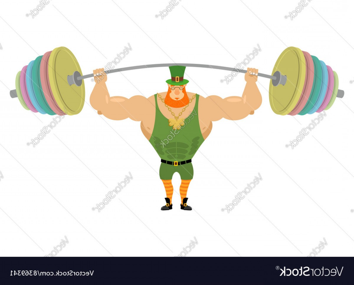 Vector Barbell Press: Leprechaun And Barbell Sports Bench Press Barbell Vector