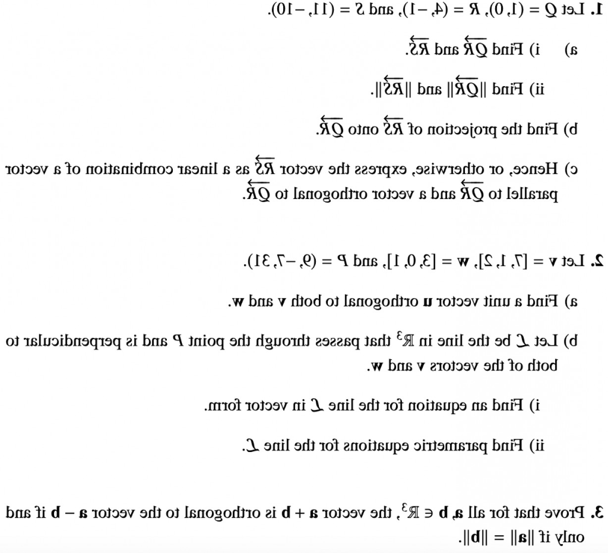Unit Vectors Orhogonal: Let Q R S Find Qr Rs Ii Find Lqrl Rs B Find Projection Rs Onto Qr C Hence Oth Q