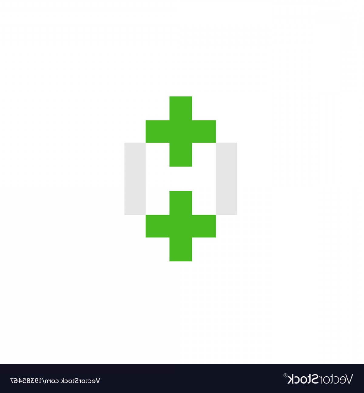 Health Vector Logo: Letter H With Green Cross Health Logo Vector