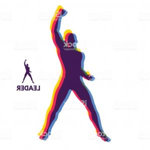 Human Standing Silhouette Vector: Leadership Concept Standing Man Human With Arm Up Silhouette For Sport Championship Gm