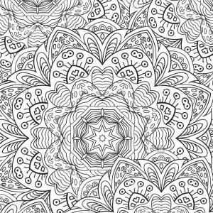Leaf Coloring Book Vector: Leaf Coloring Book Mandala Zentangl Pattern Image