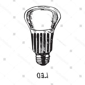 Vector LED Lighbulb: Led Lamp Woodcut Style Design Hand