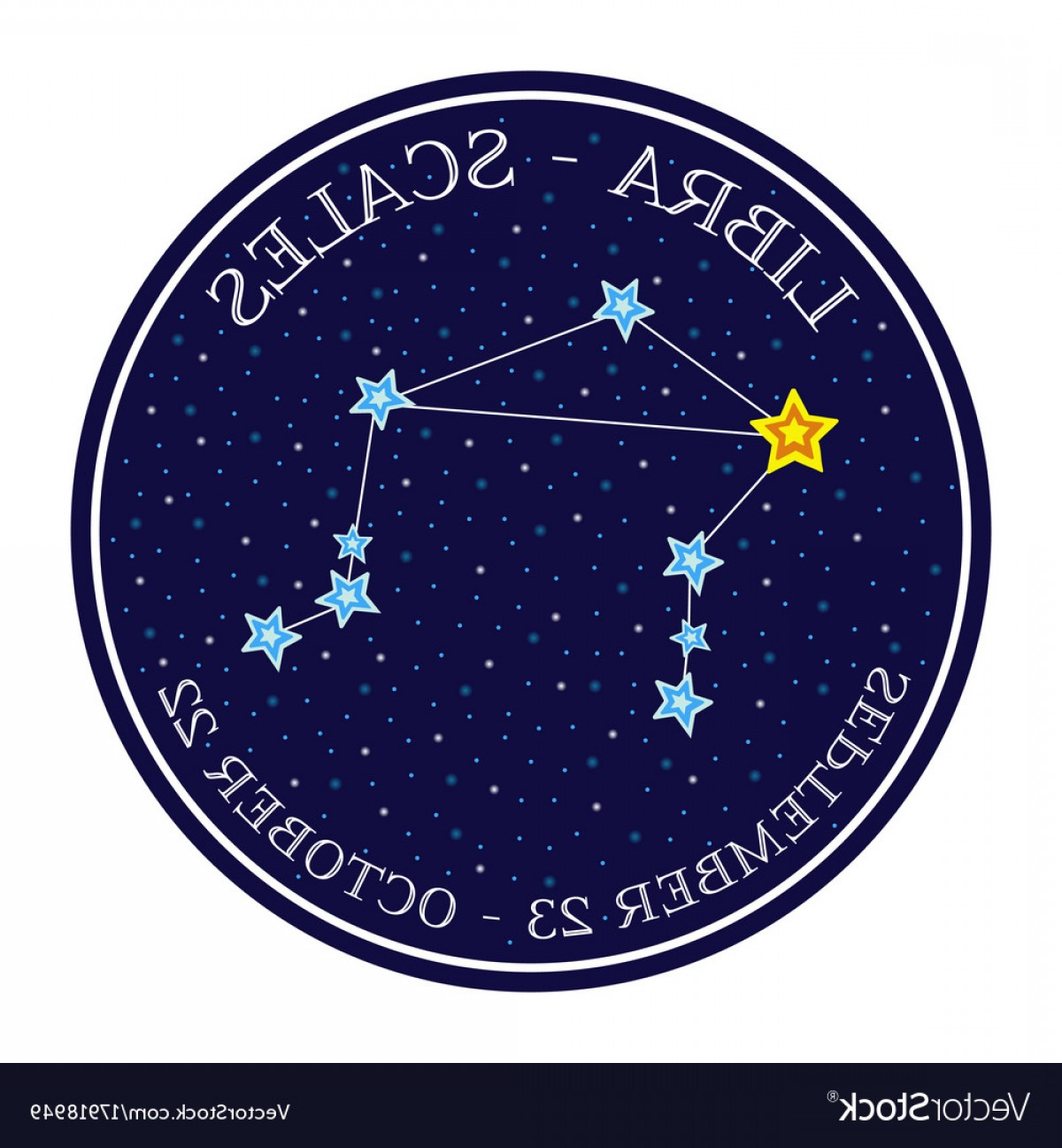 October Zodiac Constellation Vector: Libra Zodiac Constellation In Space Round Icon Vector