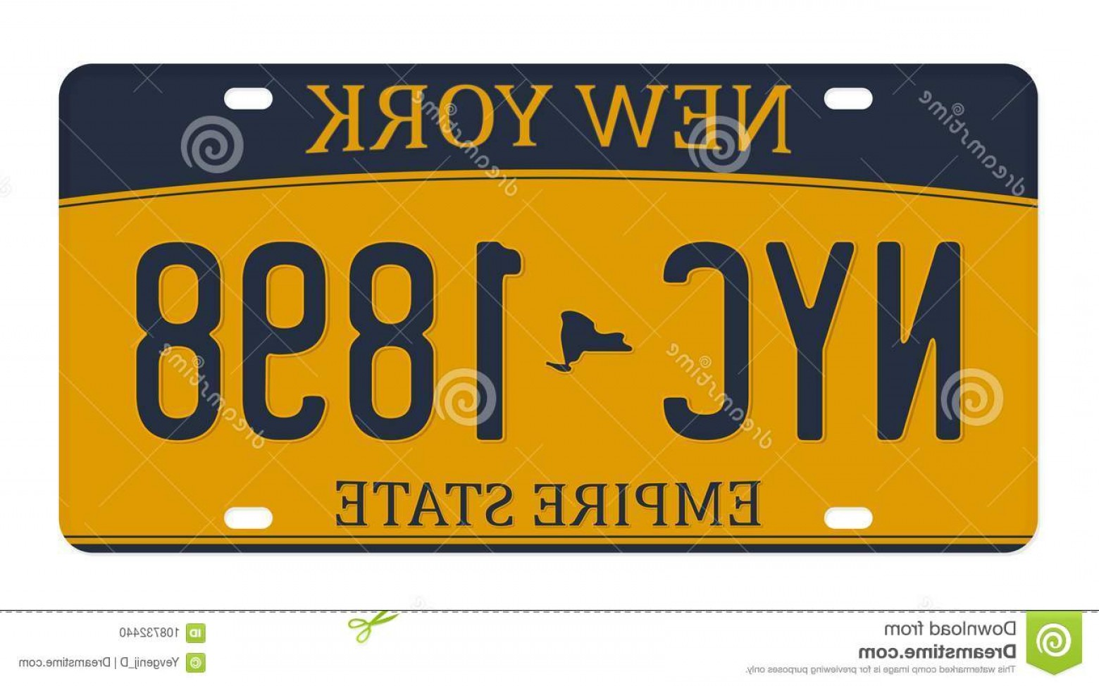 Florida License Plate Vector Art: License Plate Isolated White Background New York License Plate Numbers Letters Badge T Shirt Graphic License Plate Image