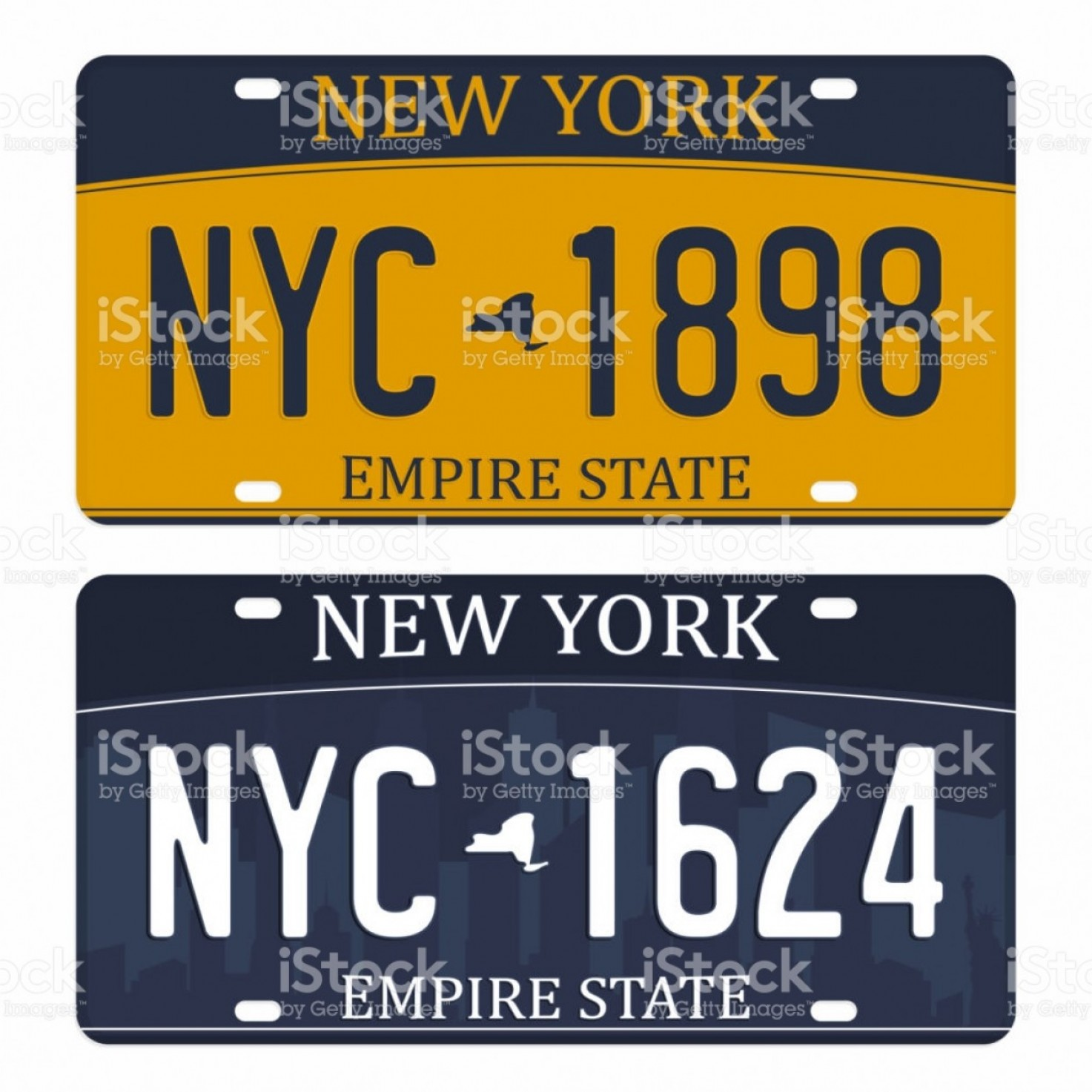 Motocross Number Plate Vector Art: License Plates Isolated On White Background New York License Plates With Numbers And Gm