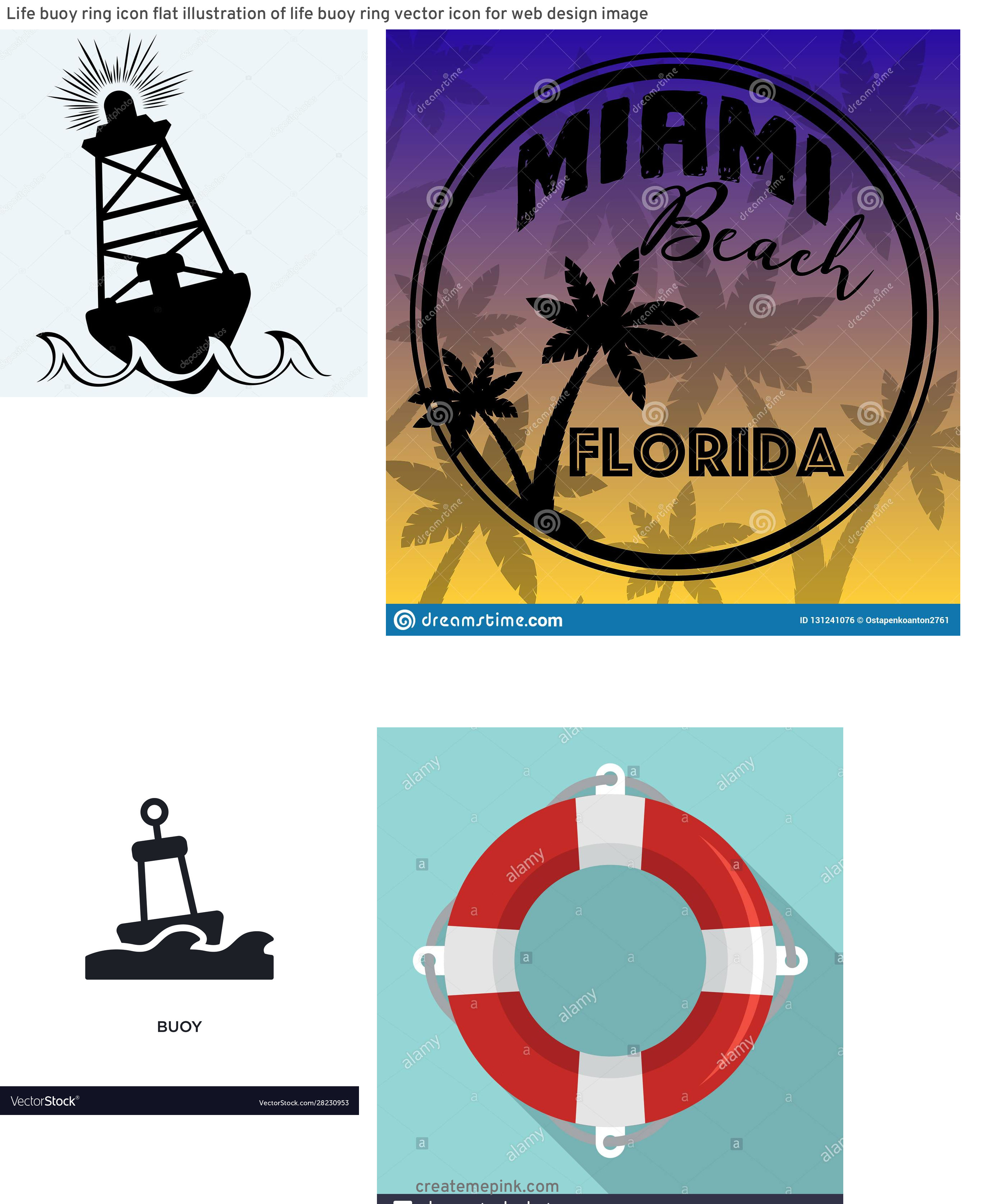 Buoy Silhouette Vector: Life Buoy Ring Icon Flat Illustration Of Life Buoy Ring Vector Icon For Web Design Image