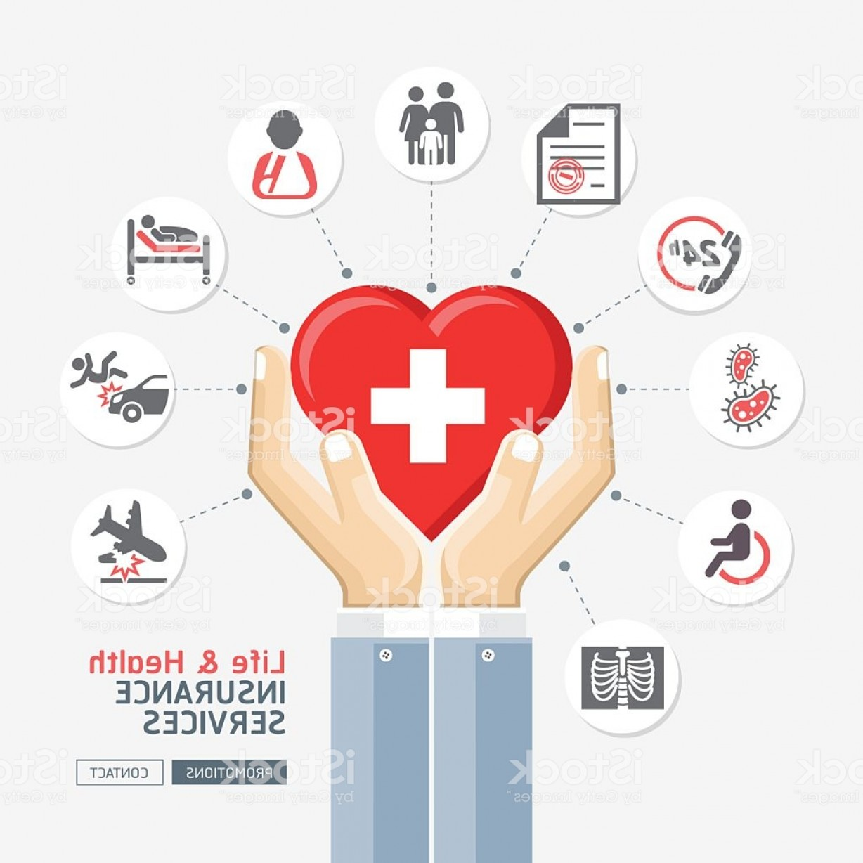Vector Health Insurance: Life Health Insurance Services Business Hands Holding Heart Shape Gm