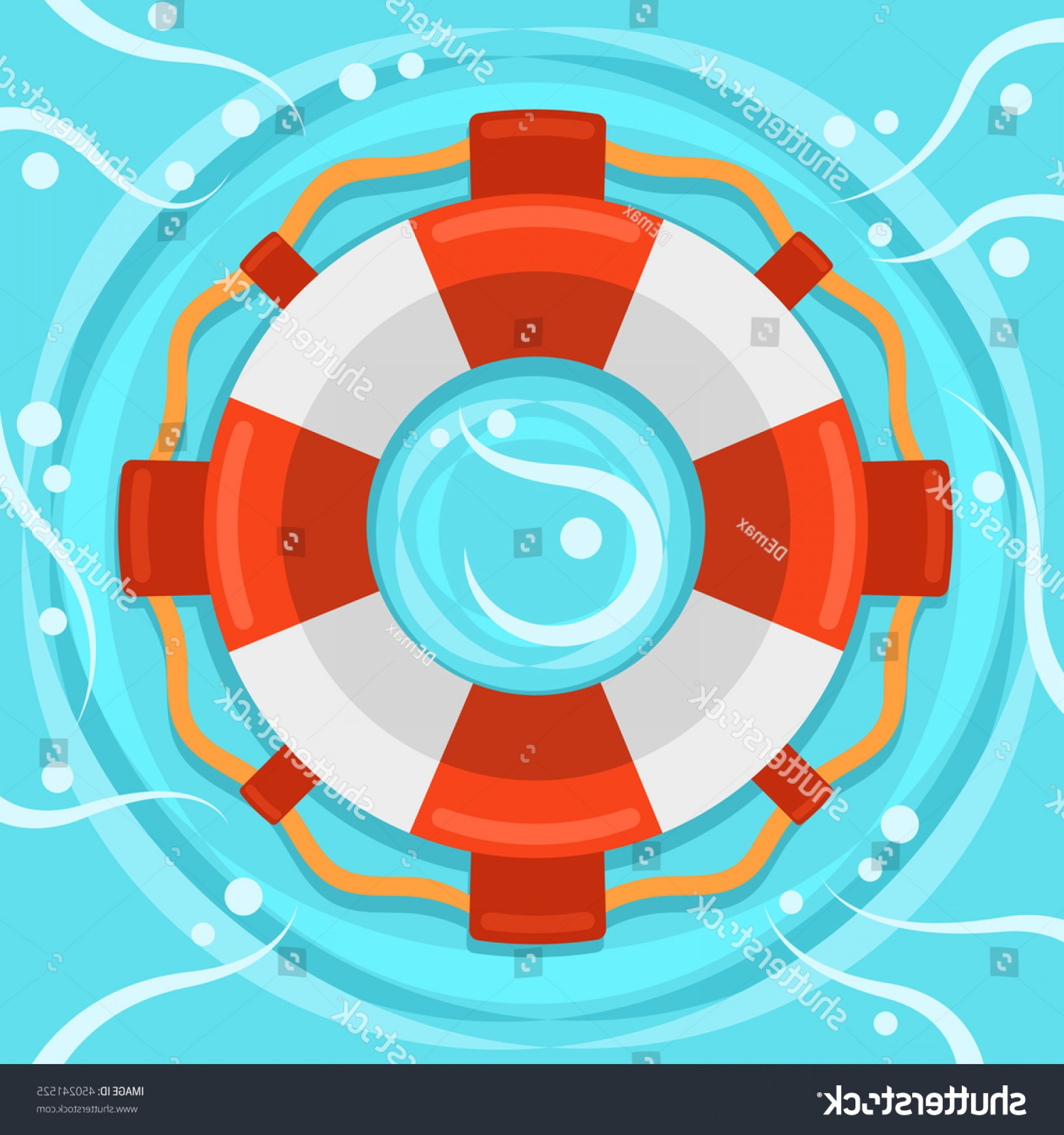 Old Lifesaver Stripe Vectors: Lifebuoy Flat Color Vector Icon Marine