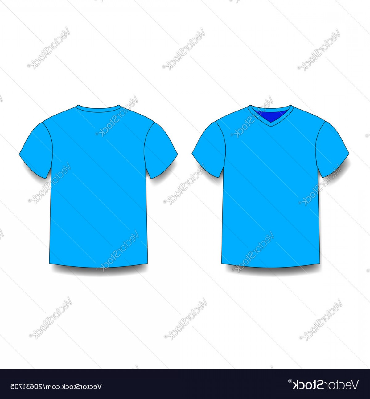 V-Neck Template Vector: Light Blue Male T Shirt Template V Neck Front And Vector