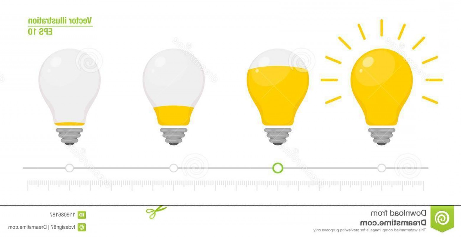 Vector Battery Replacement Lanterns: Light Power Indicator Power Switch Energy Charge Level Full Low Yellow Glowing Light Bulb Vector Illustration Light Power Image