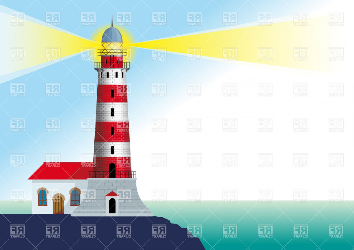 Lighthouse Beacon Silhouette Vector: Lighthouse Beacon Standing On A Rock By The Ocean Vector Clipart