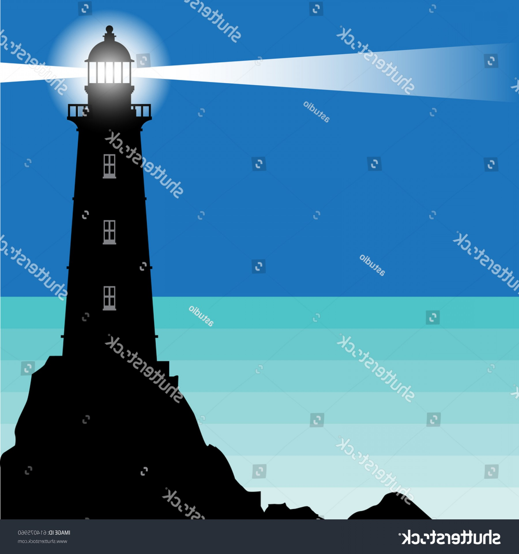 Lighthouse Beacon Silhouette Vector: Lighthouse Beacon Stands On Rocks Vector