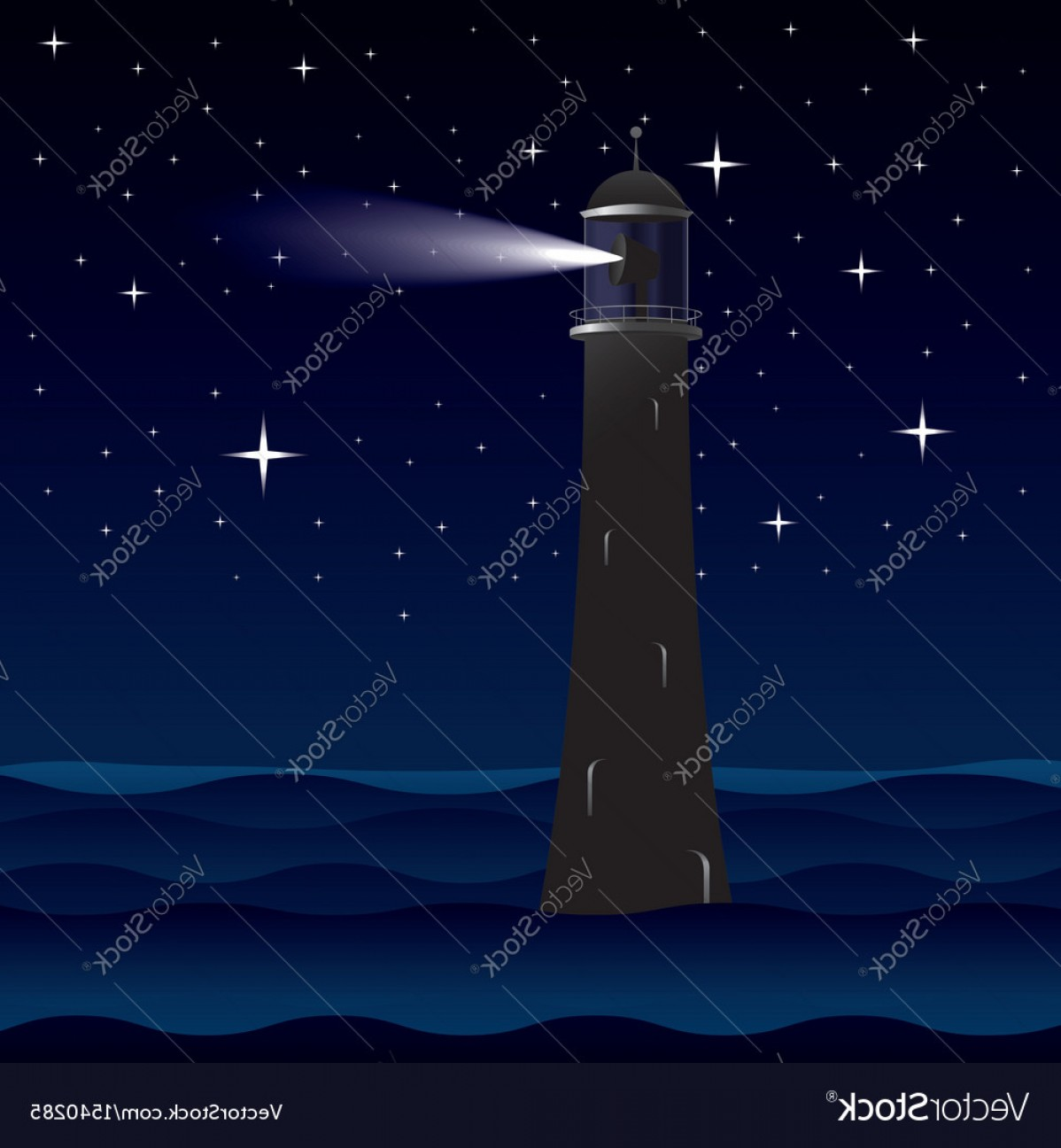 Lighthouse Beacon Silhouette Vector: Lighthouse Silhouette At Night Vector