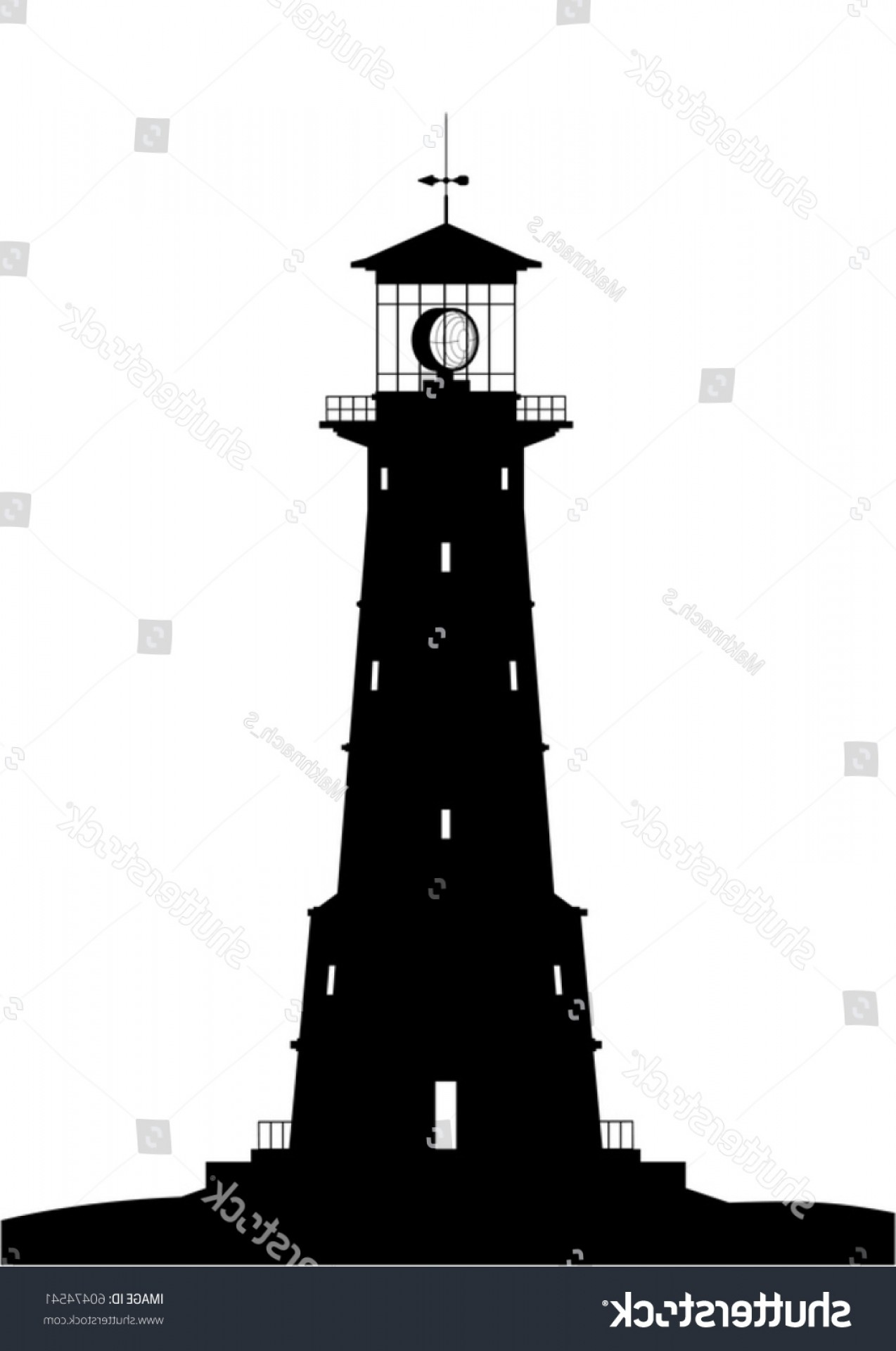 Lighthouse Beacon Silhouette Vector: Lighthouse Silhouette Black Isolated On White
