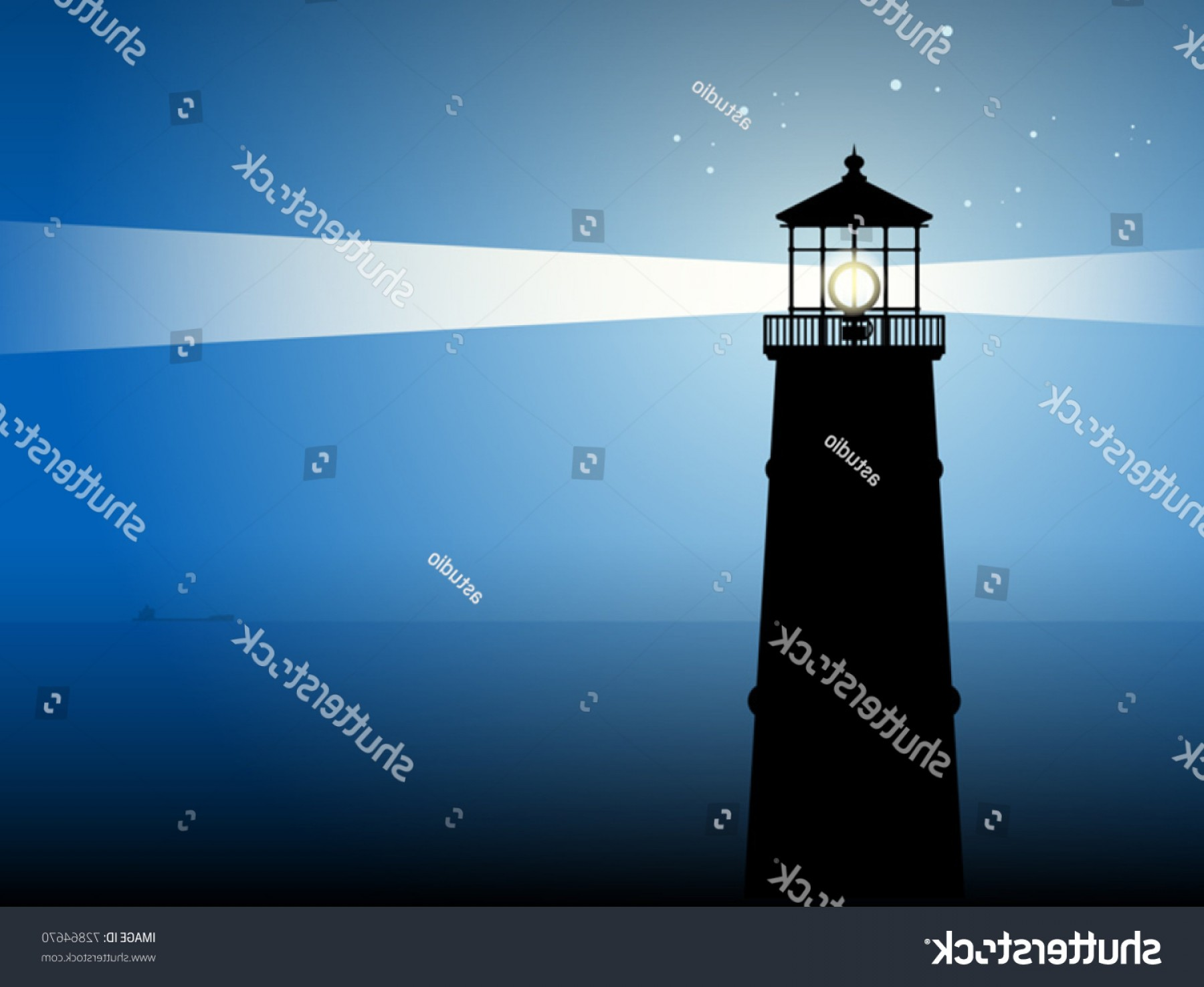 Lighthouse Beacon Silhouette Vector: Lighthouse Silhouette Night Vector Illustration