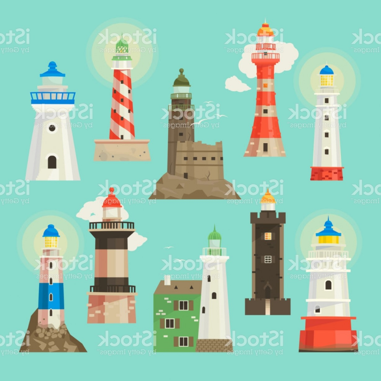 Lighthouse Beacon Silhouette Vector: Lighthouse Vector Beacon Lighter Beaming Path Of Lighting To Ses From Seaside Coast Gm