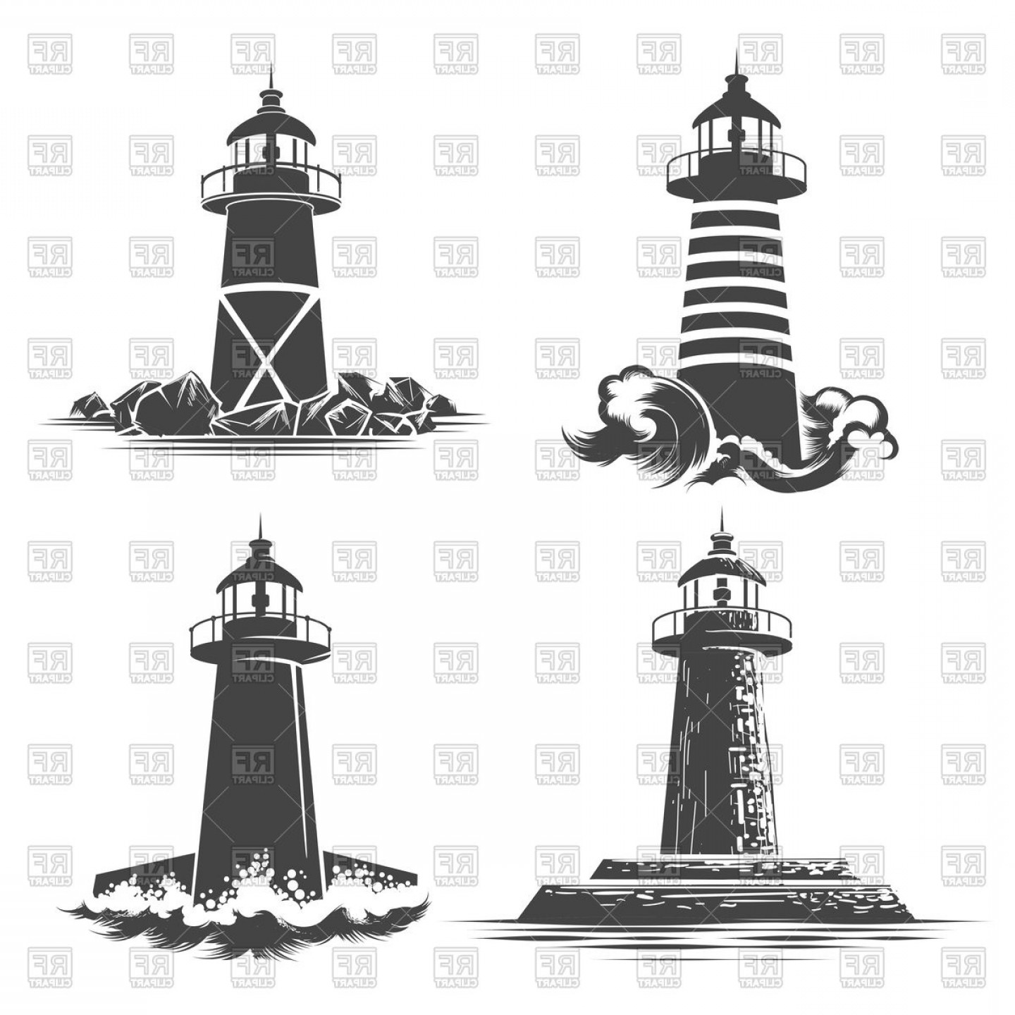 Lighthouse Beacon Silhouette Vector: Lighthouses Emblems Set Beacon Tower Vector Clipart