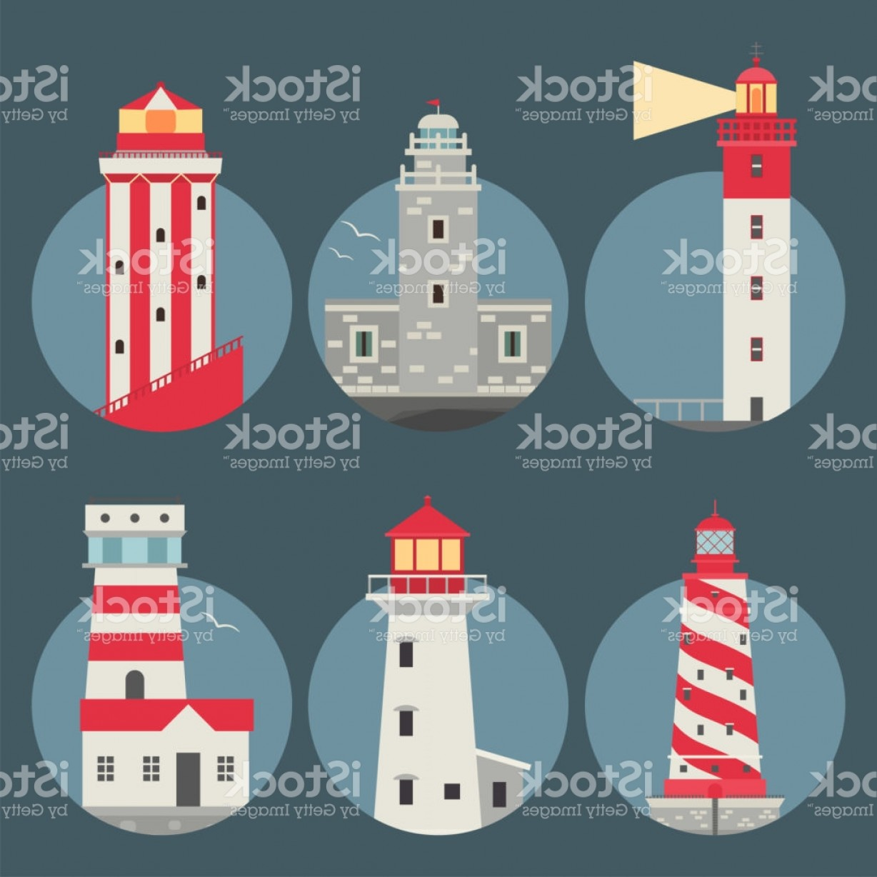 Lighthouse Beacon Silhouette Vector: Lighthouses Vector Flat Searchlight Towers For Maritime Navigation Guidance Ocean Gm