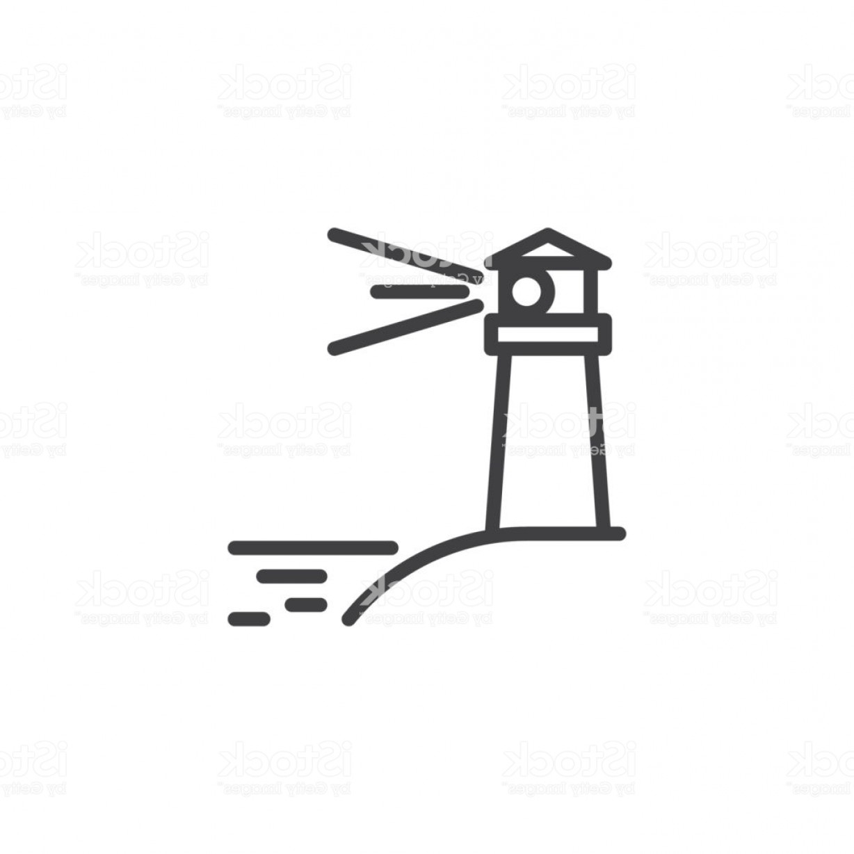 Ocean Water Clip Art Vector: Lighting Lighthouse And Ocean Water Line Icon Gm