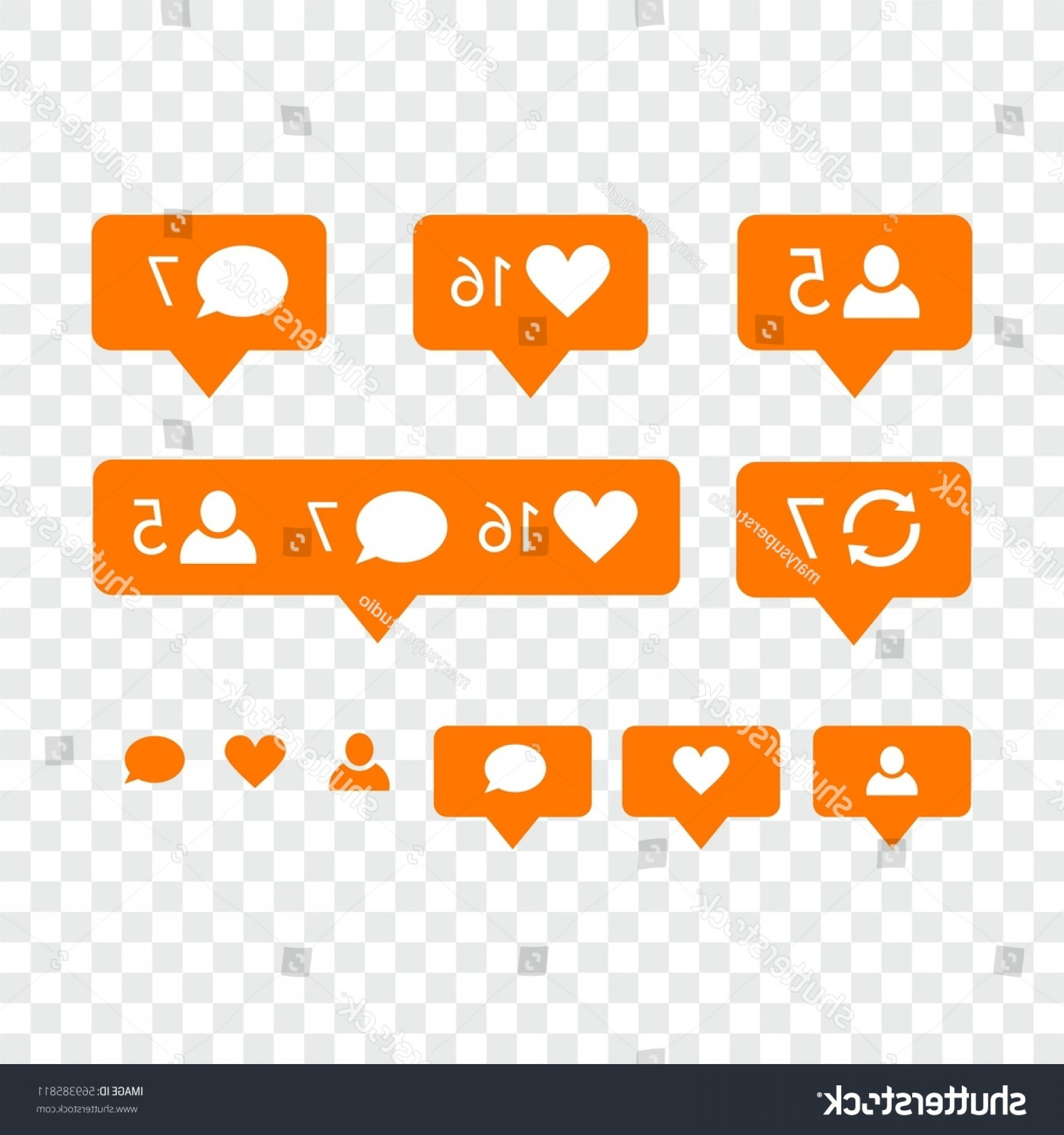 Official Instagram Icon Vector: Like Symbol Message Notification Set Instagram