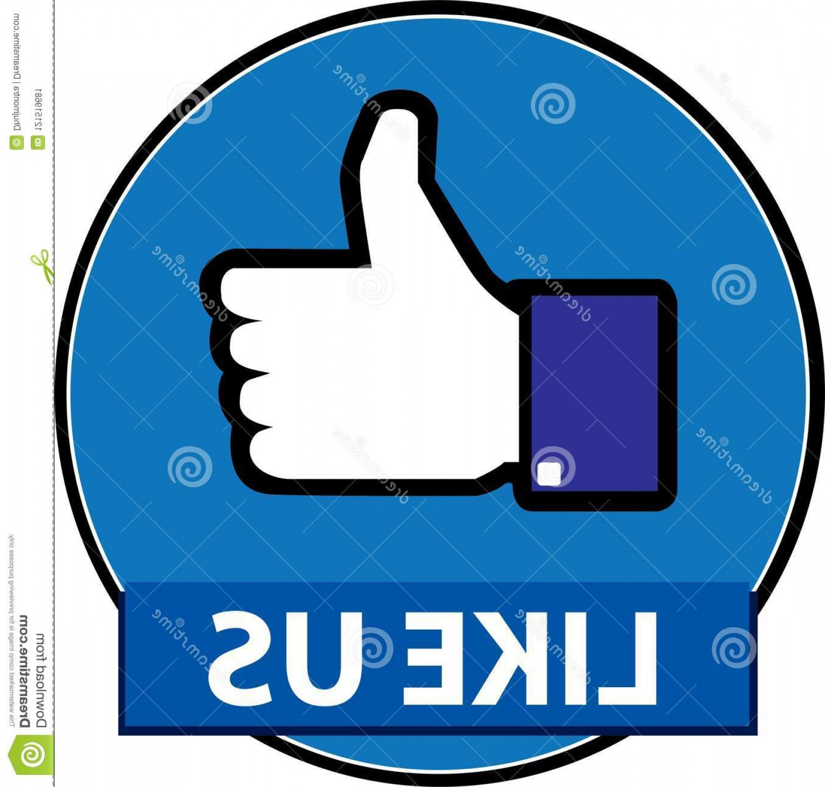 Finger Facebook Vector: Like Us Facebook Button Vector Isolated White Background Image