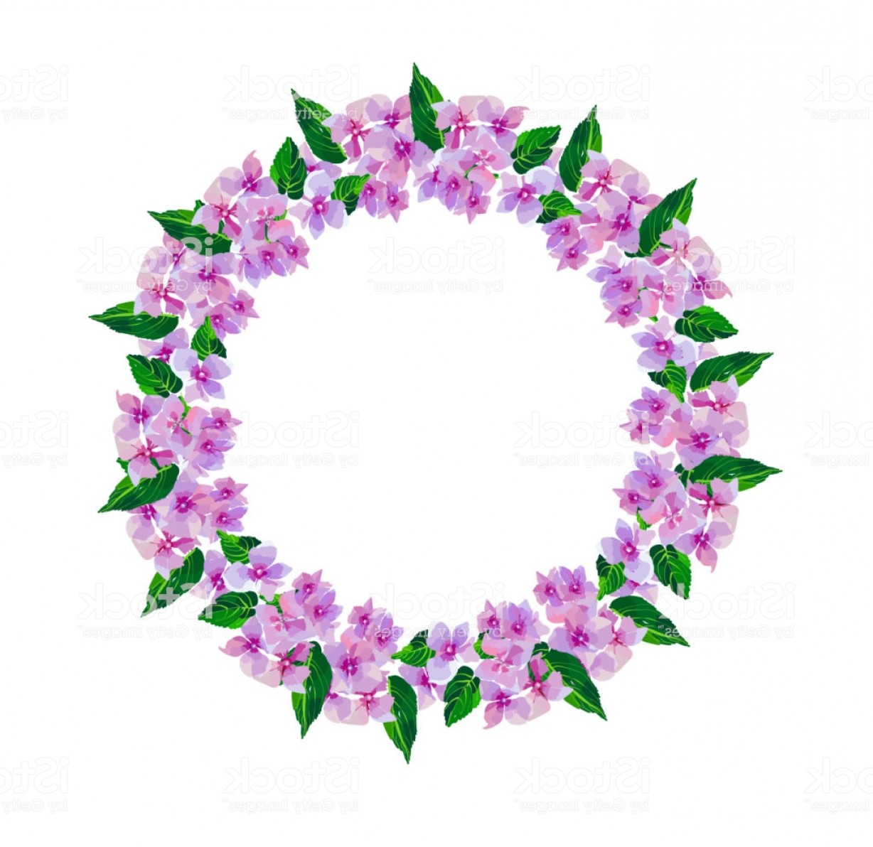 Lilac Wedding Vectors: Lilac Small Flowers Wreath Of Watercolor Flowers Hand Painted Round Frame For Gm