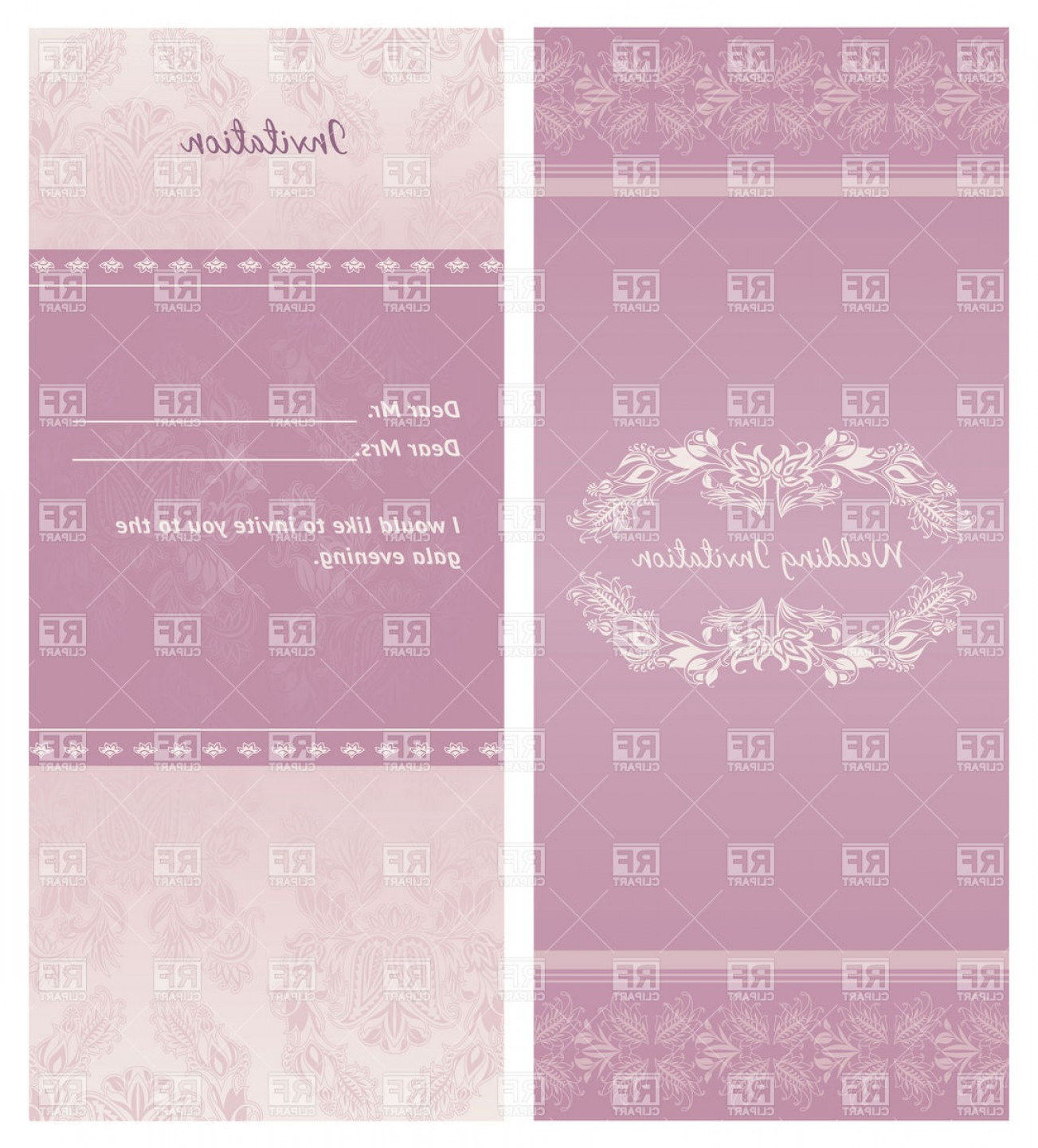 Lilac Wedding Vectors: Lilac Wedding Invitation With Floral Background Vector Clipart