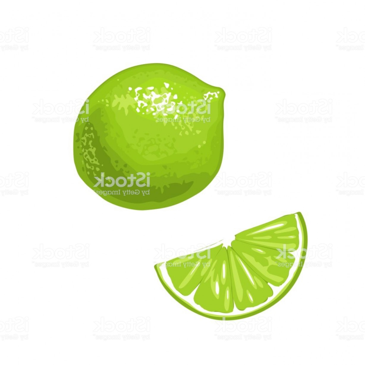 Lime Wedge Vector Art: Lime Slice And Whole Vector Color Flat Engraving Gm