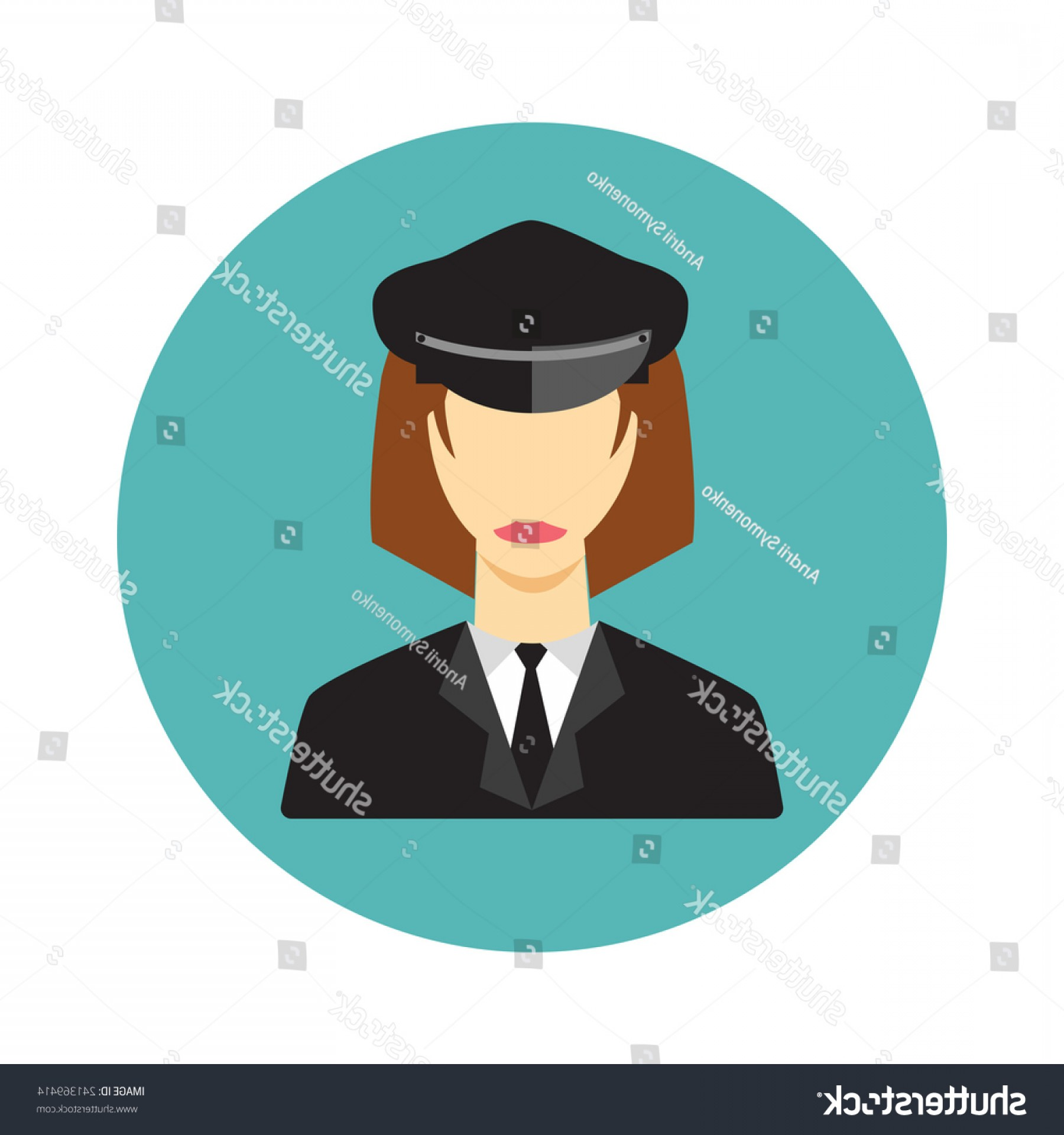 Chauffer Driver Cap Vector: Limo Limousine Driver Woman Icon Flat