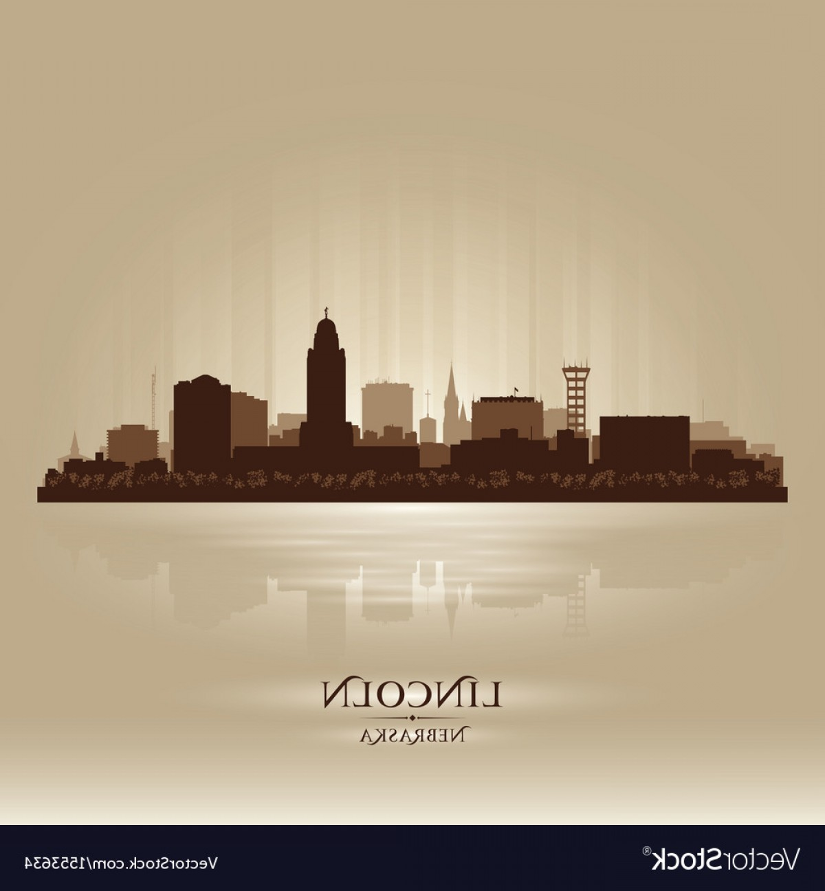 Wicked Boston Skyline Silhouette Vector: Lincoln Nebraska City Skyline Silhouette Vector