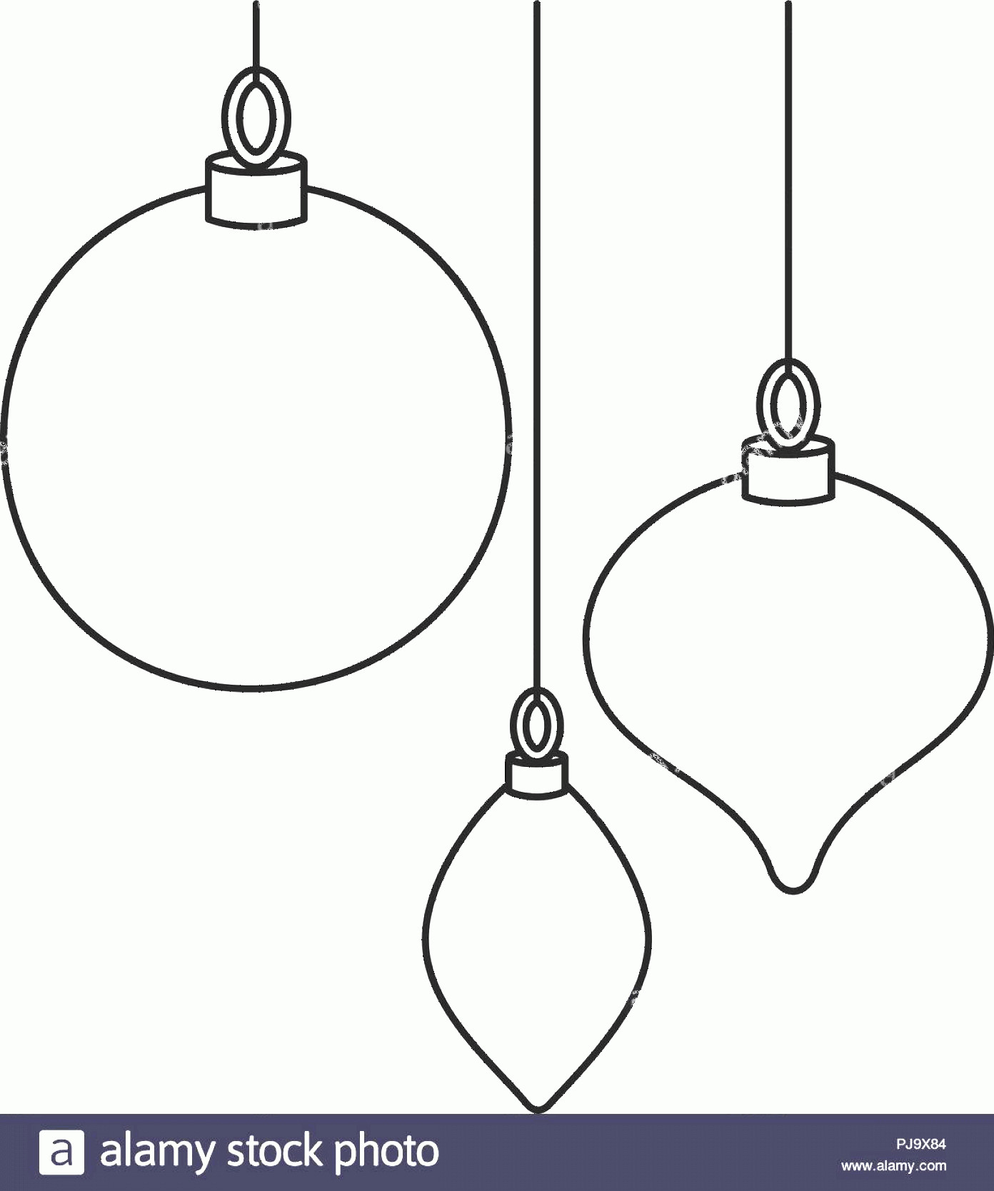 Black And White Christmas Ornament Vector Art: Line Art Black White Christmas Tree Decorations Image