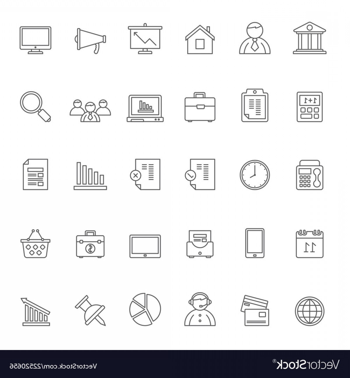 1-1 Vector: Line Business Office And Finance Icons Vector