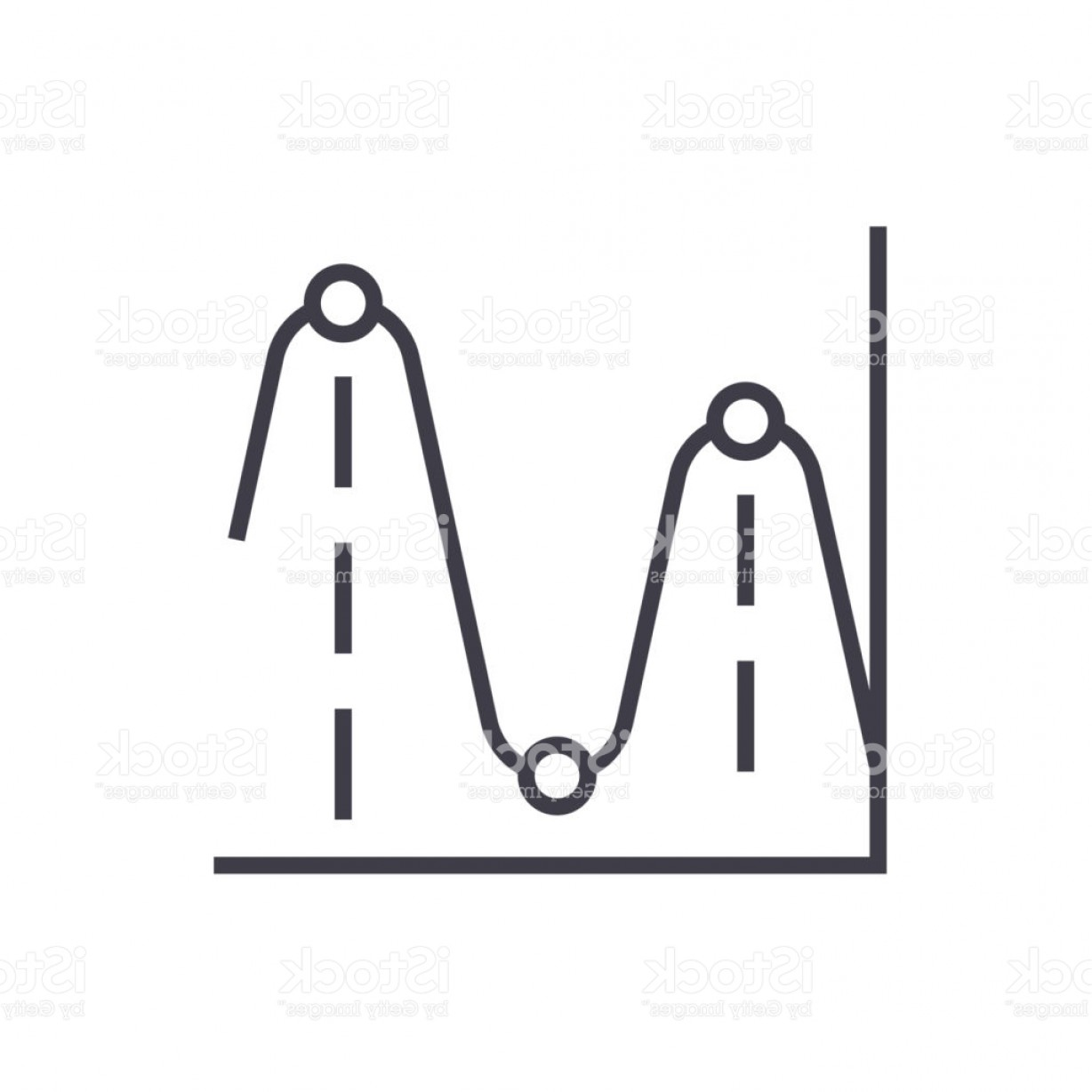 Frequency Icon Vector: Line Charts Frequency Graphs Vector Line Icon Sign Illustration On Background Gm