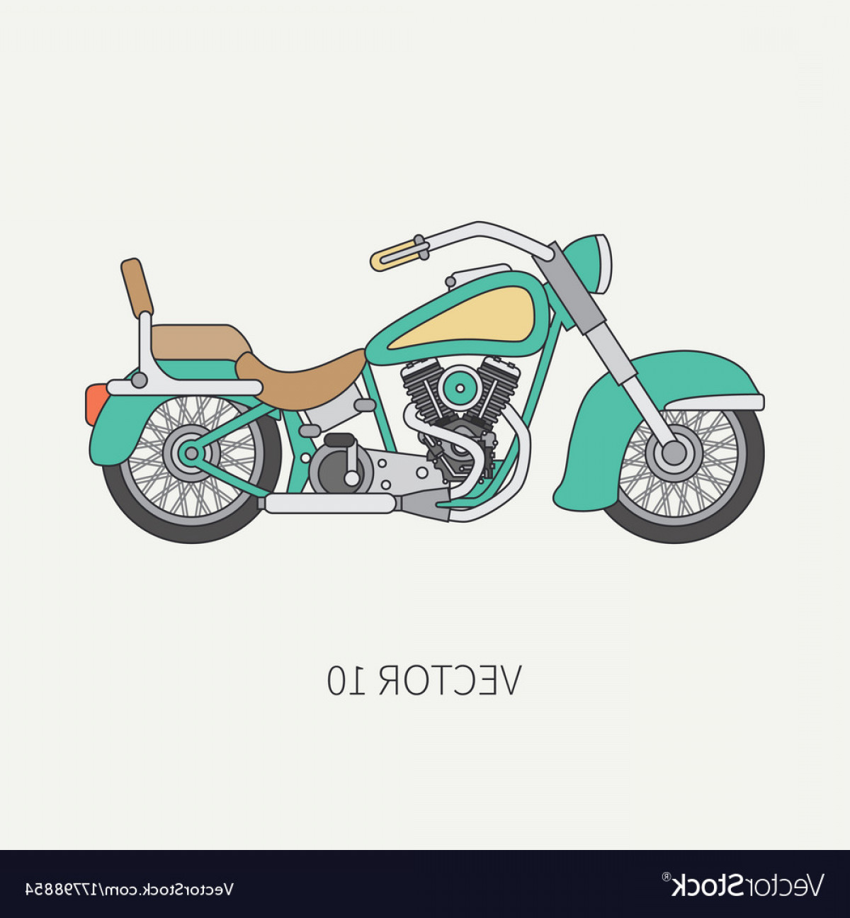 Flat Vector Motorcycle: Line Flat Color Motorcycle Icon Classic Vector