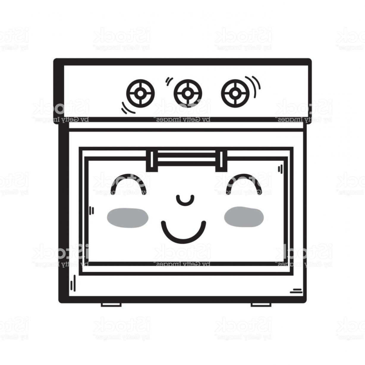 Happy Oven Vector: Line Kawaii Cute Happy Oven Technology Gm