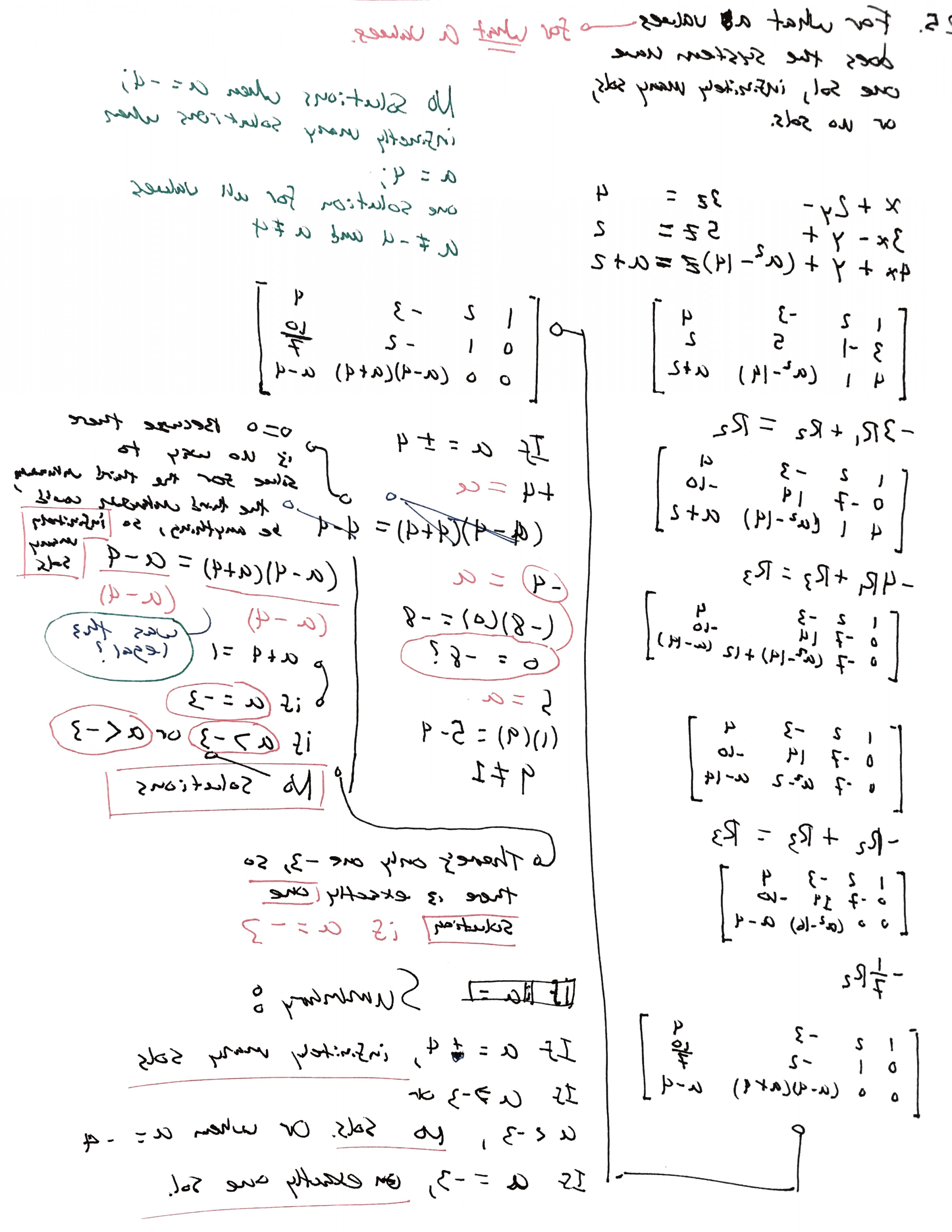 Linear Algebra Vector Zero: Linear Algebra Determine The Values Of A For Which The System Has No Solutions