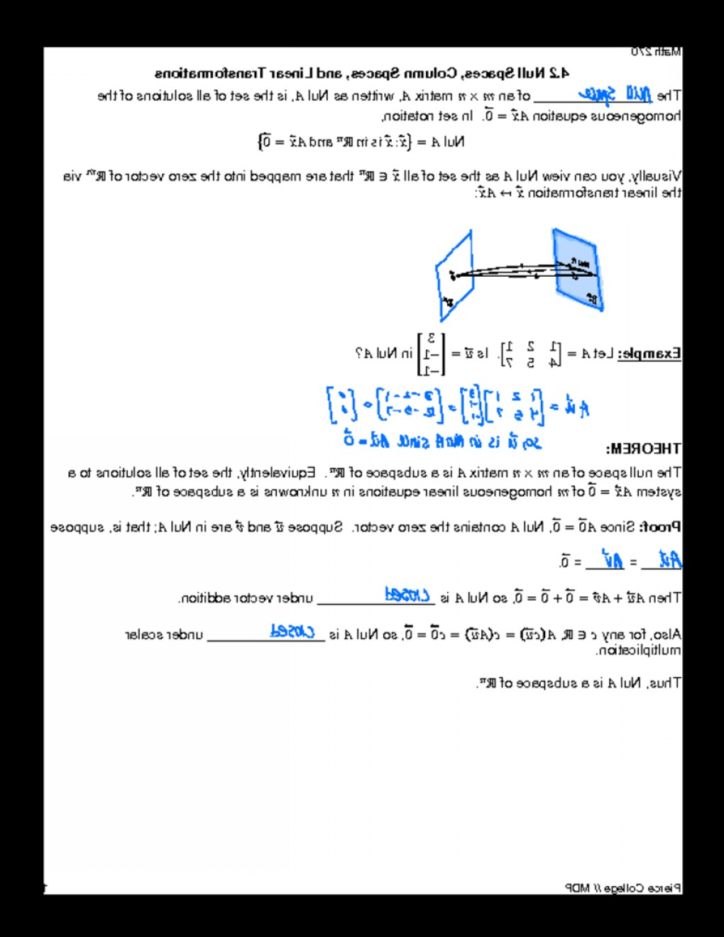 Linear Algebra Vector Zero: Linear Algebra Notes Null Space And Column Space
