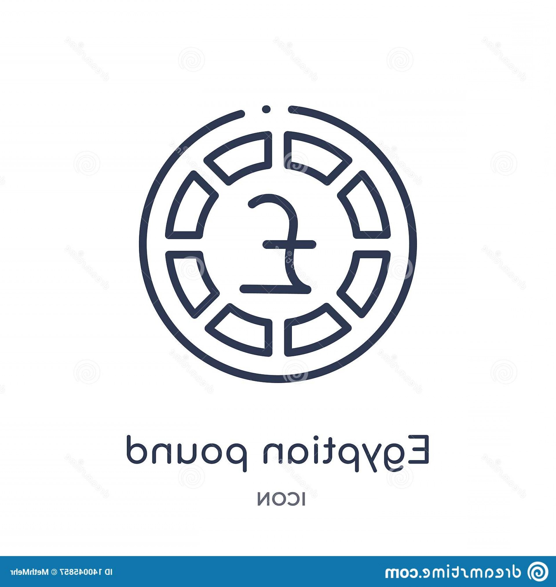 Egyptian Money Symbol Vector: Linear Egyptian Pound Icon Africa Outline Collection Thin Line Vector Isolated White Background Trendy Illustration Image
