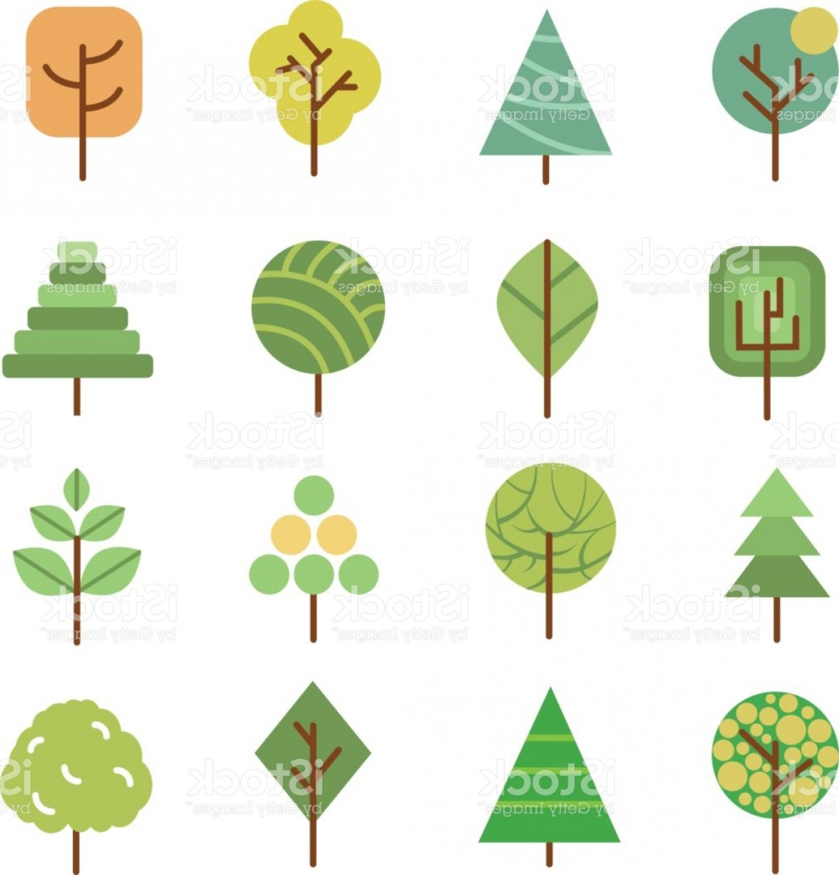 Flat Vector Art And Abstract Forest: Linear Flat Vector Trees Nature Forest Design Icons With Geometric Shapes Gm