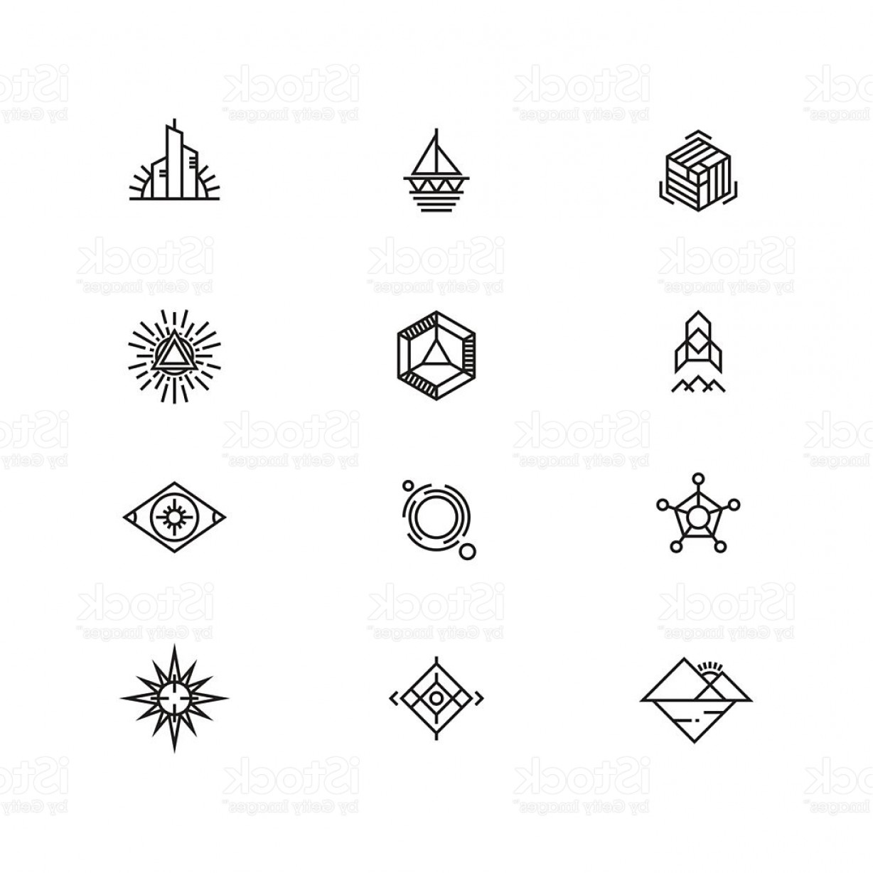 Logo Elements Vector: Linear Geometric Logo Elements For Business Gm
